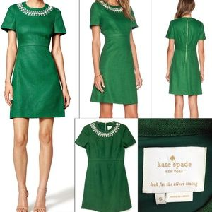 Kate Spade Embellished Linen Bell Sleeve Dress
